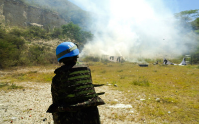 Military and peacekeeper in training for UN Mission, Port-Au-Prince, Haiti, 2012.