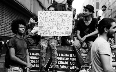 Student reclaims for a free tariff in public transports, Belo Horizonte, Brazil, 2014.
