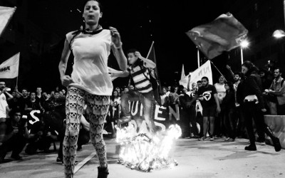 Protesters on their way to burn the turnstile, Belo Horizonte, Brazil, 2014.
