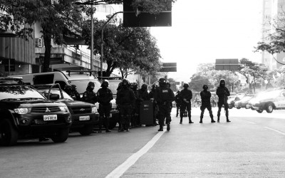 Police barrier to prevent access to the soccer stadium, Belo Horizonte, Brazil, 2014.
