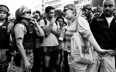 To contain the protesters' access, streets and avenues were closed, causing dissatisfaction and quarrels between police and protesters and local residents, Belo Horizonte, Brazil, 2014.