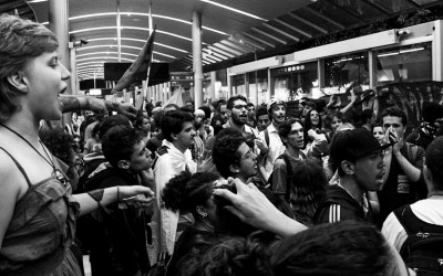 Two hours before, protesters arrive at the main station of the public transports in the city - BRT, Belo Horizonte, Brazil, 2014.