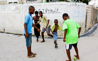 Others who do not share the same conditions find in sports, especially in football, occupations and new dreams. All these children have at least two known international players, even though they still do not understand what is going on in the own country. Port-au-Prince, Haiti, 2012.