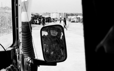 Peacekeeper in Parc Jean Marie Vincent, Port-Au-Prince, Haiti, 2012.