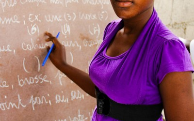 Teacher at school, Port-Au-Prince, Haiti, 2012.