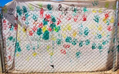 School wall located in Sharia Refugee Camp, near Duhok, Iraq (Iraqi Kurdistan).