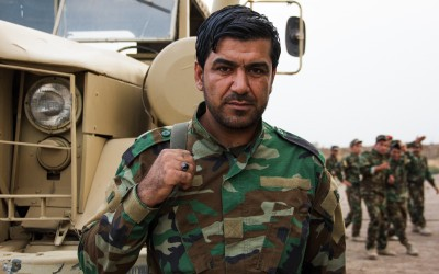 Peshmerga in frontline in combat against Islamic State (ISIS), Iraq (Iraqi Kurdistan), Middle East, 2015.