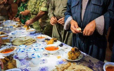 Daily food of the peshmergas in the bases that are of the current ruling party, the Kurdistan Democratic Party (KDP). Iraq (Iraqi Kurdistan), Middle East, 2015.