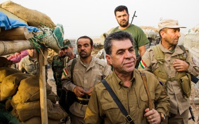 Peshmergas in frontline in combat against Islamic State (ISIS), Iraq (Iraqi Kurdistan), Middle East, 2015.
