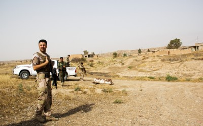 Peshmergas near frontline in Iraq (Iraqi Kurdistan), Middle East, 2015.