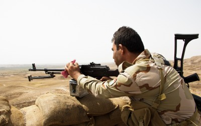 Attack against Islamic State (ISIS) on frontline near Mosul, Iraq (Iraqi Kurdistan).