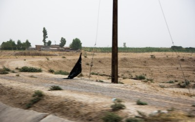 Islamic State (ISIS) flag placed during invasion near Mosul, Iraq (Iraqi Kurdistan).
