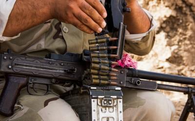 Peshmergas on frontlines near Mosul, Iraq (Iraqi Kurdistan).