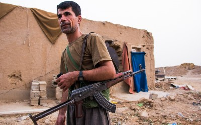 Soldier returns to Base after a daily as guardian of a frontline near Mosul, Iraq (Iraqi Kurdistan).
