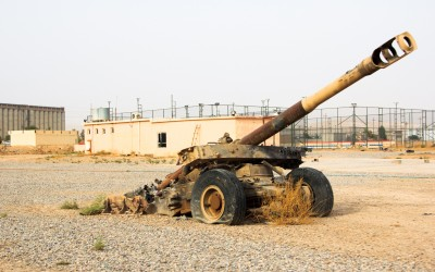 War tank used by Islamic State (ISIS)  -  heritage of the American occupation in Iraq - during the conflicts was captured by the peshmergas soldiers. near Mosul, Iraq (Iraqi Kurdistan).